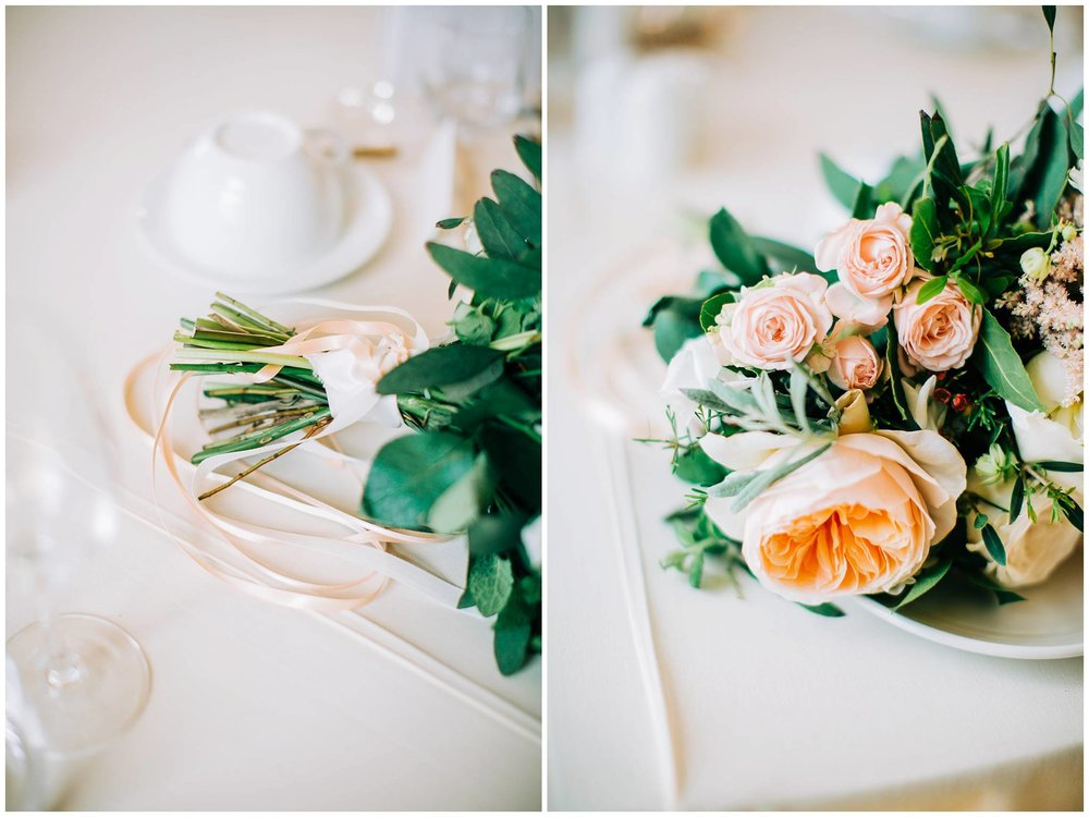 detail shots of the brides bouquet featuring trailling ribbons