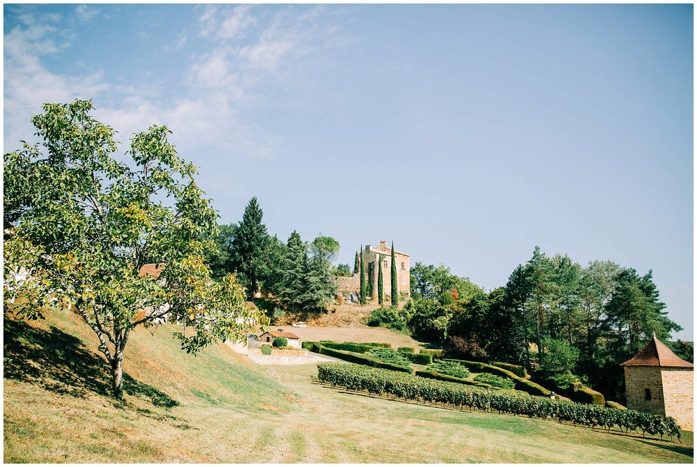 wide angle of cahors vineyard wedding in the south of france