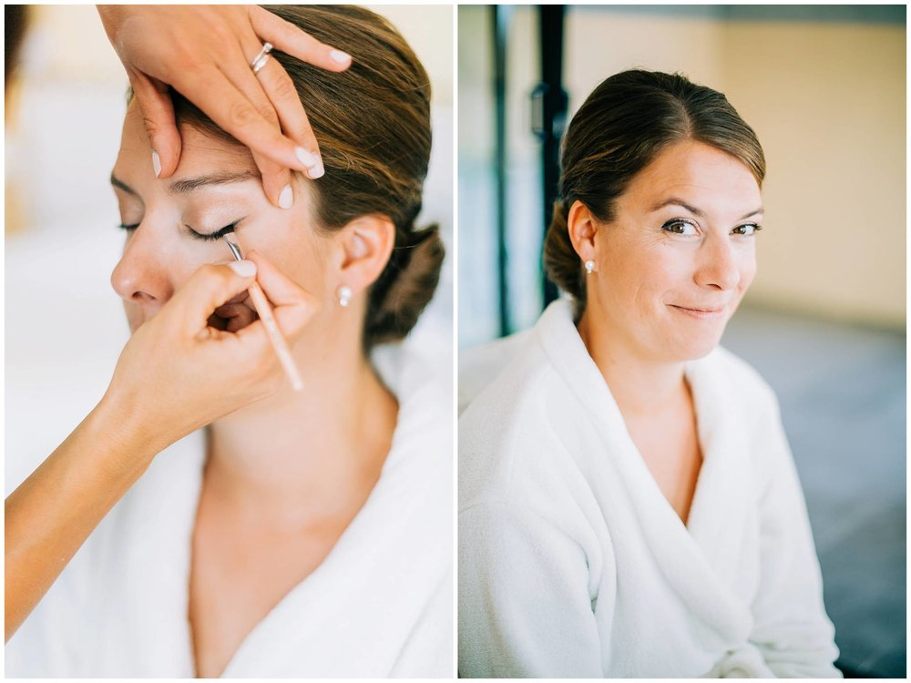 simple and timeless makeup being applied to bride for her french vineyard wedding