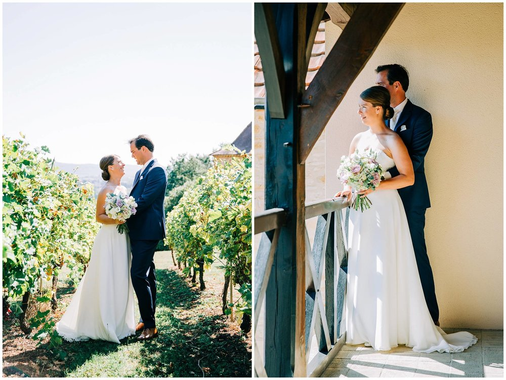 bride and groom within the vines and on a balcony overlooking the vines