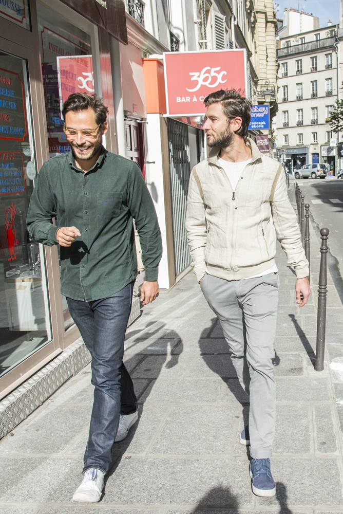 Maxime and Jérome talk a walk in the neighborhood around the Papier Tigre Shop in Paris 4ème