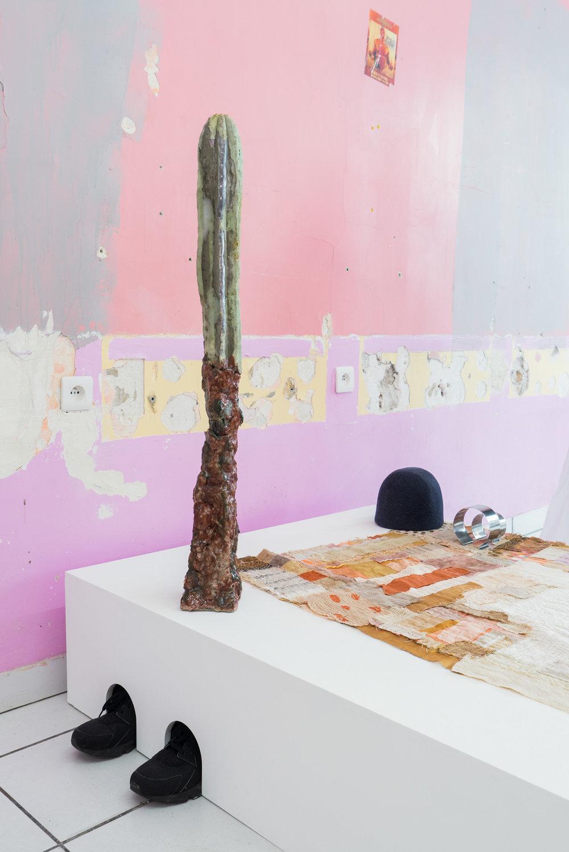 artist_ Yashka Moore (hat), Thompson Street Studio (textiles)