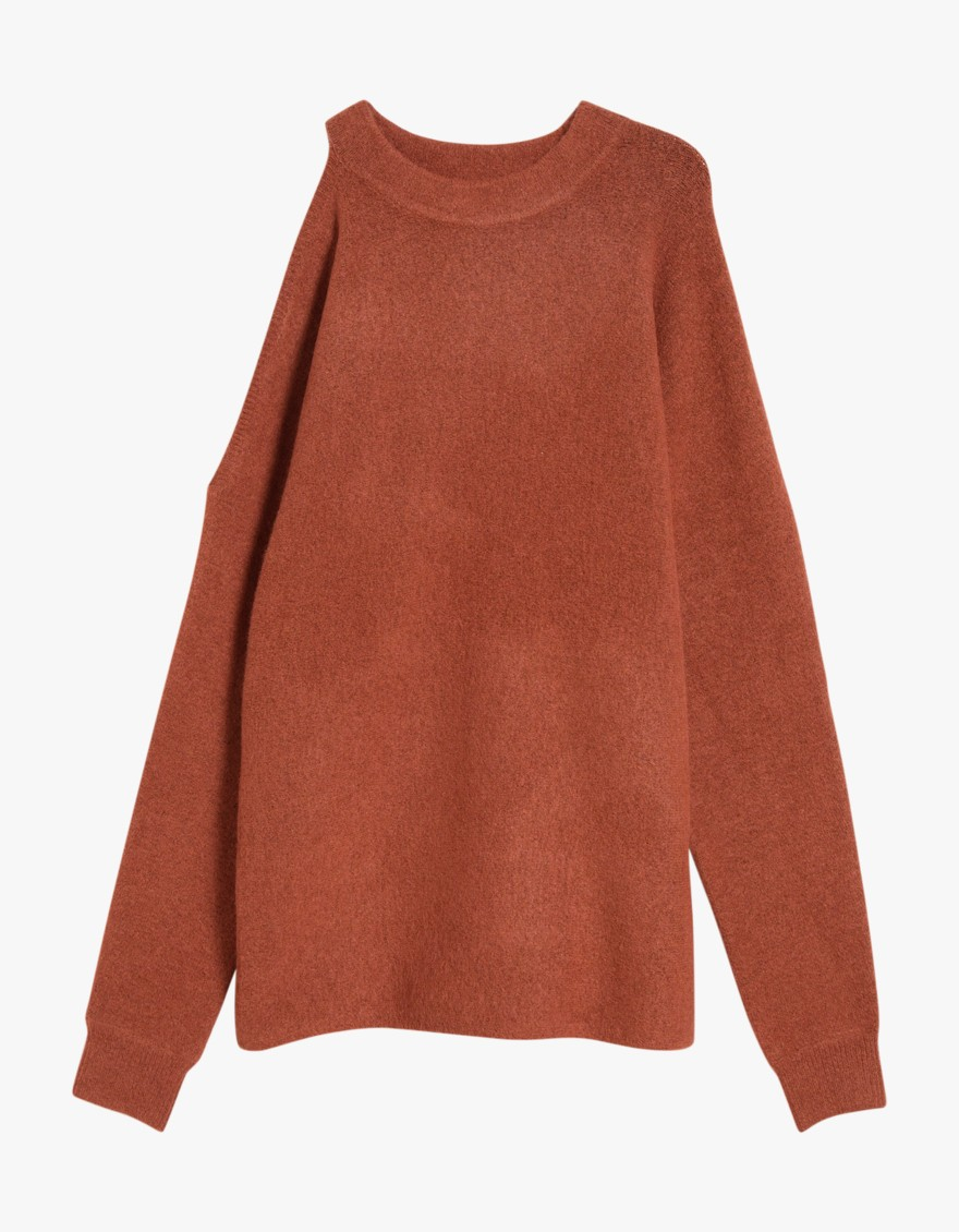 say hi to_ Tibi Cozy Cut Shoulder Pullover