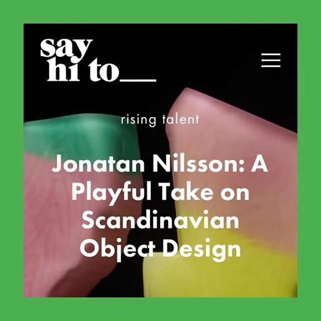 say hi to_ Rising Talent | Sweden | @jonatan.nilsson.design • • White, wood and minimalistic ? Not the new generation of Scandinavian design. • Join us while we talk to rising talent Jonatan Nilsson about his work and contemporary Swedish Design. • Jonatan's Shifting Shapes Vase series will be included in our curated selection of Vases for @1000vases during Paris Design Week • ONLINE NOW http://sayhito-mag.com/content/rising-talent/jonatan-nilsson-swedish-vase (link In bio) • Writing_ @naderlavachequirit . . . . . . . . . . #blownglass #glass #vase #glassvase #scandinaviandesign #jonatannilsson #swedishdesign #swedish #objectdesign #collectibledesign #collectiblefurniture  #furnituredesign #objectdesign #curation #furnituregallery #sayhito_sweden