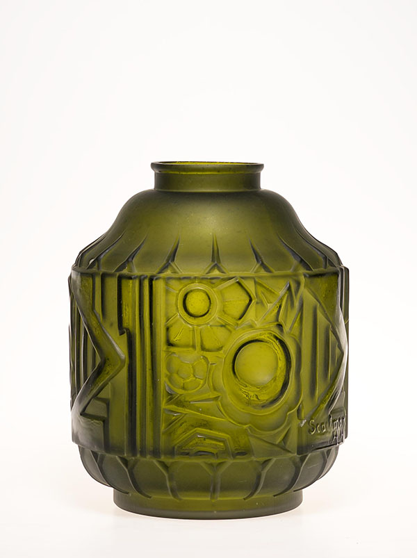 Designed by  Henri Heemskerk  and manufactured by  SA Verreries de Scailmont  in Belgium in 1930. The organic shapes of this Art Deco vase have been cut out by sandblasting.