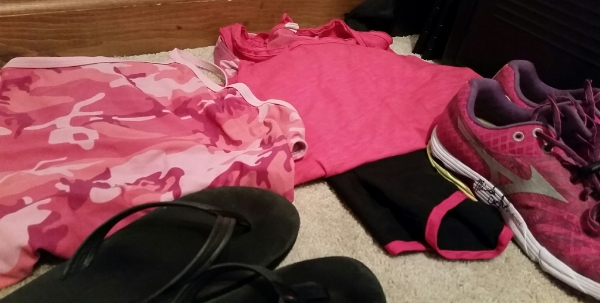 Tomorrow must be pink camo day at the pool. Swim and Run [check out Rinnie's autograph on my Mizunos!].