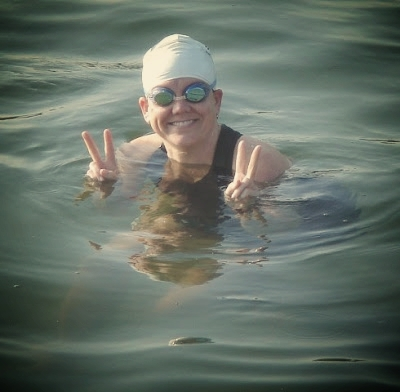 The White Lake Sprint in 2009. Thinking peaceful thoughts before my second tri.