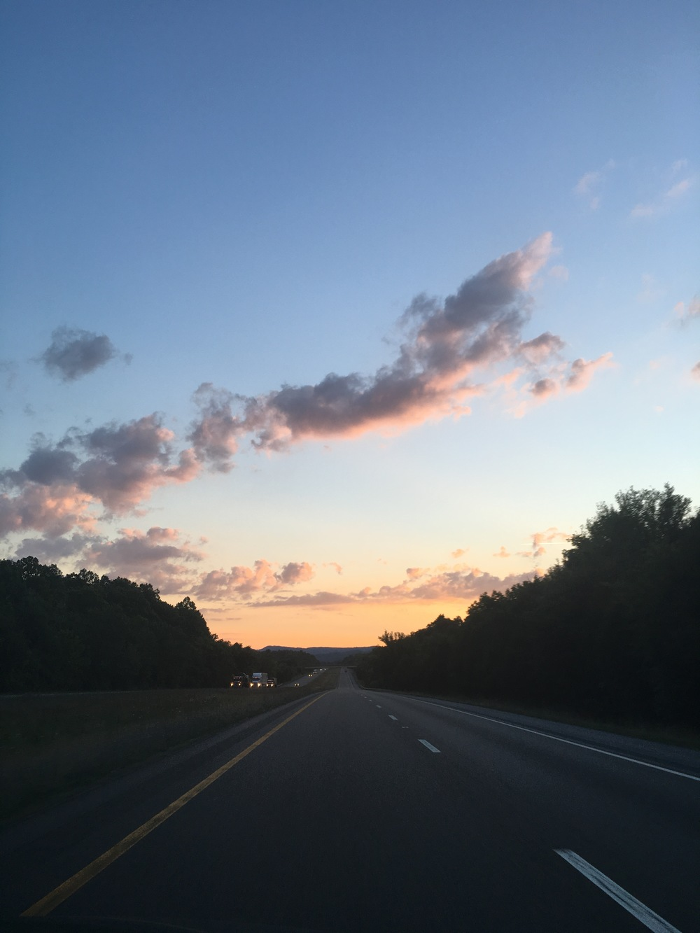 Pink Sunset on the road