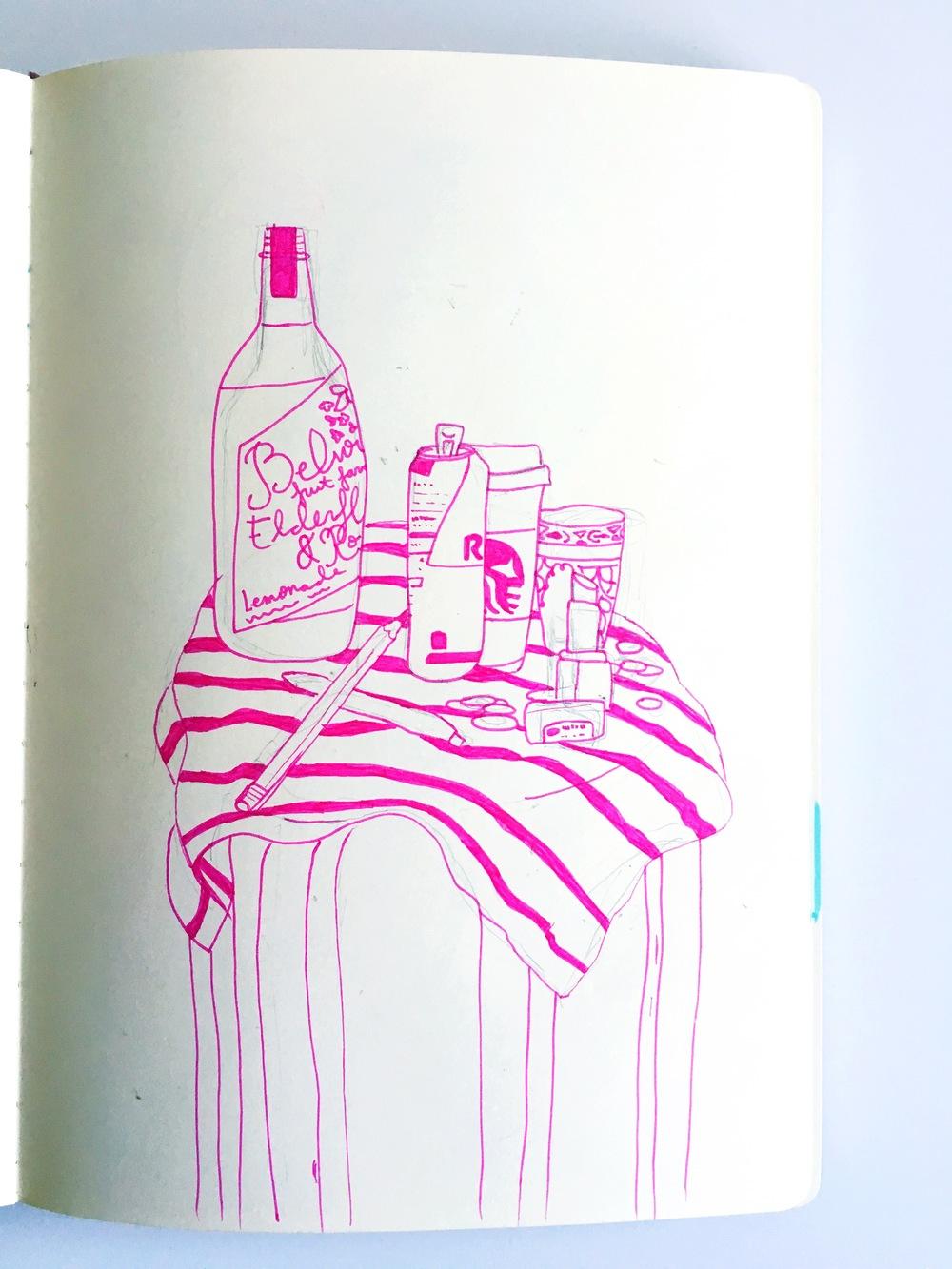 pink still life sketch