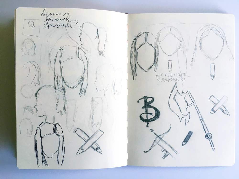 Buffy Podcast Logo Sketches