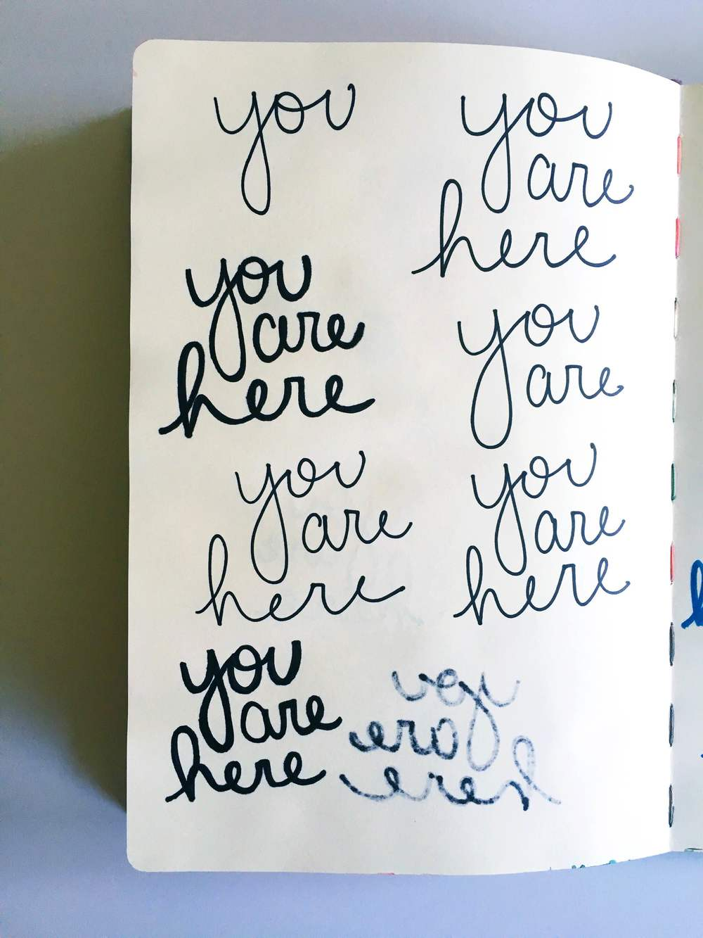 you are here handlettering sketchbook