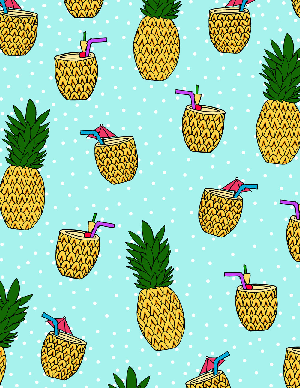 Pineapples and Drinks Pattern.jpg