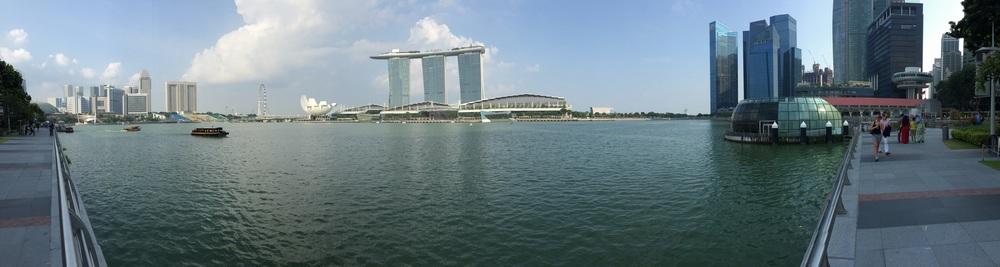 Panorama of Marina Bay and Marina Bay Towers.
