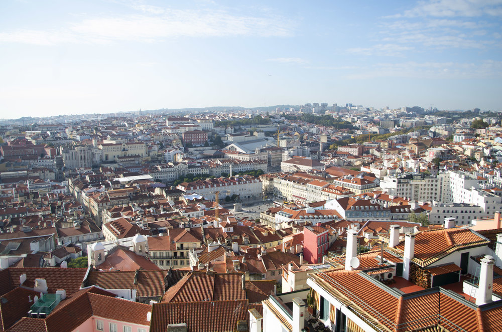 Looking down on the city center of Lisbon from Castelo de São Jorge