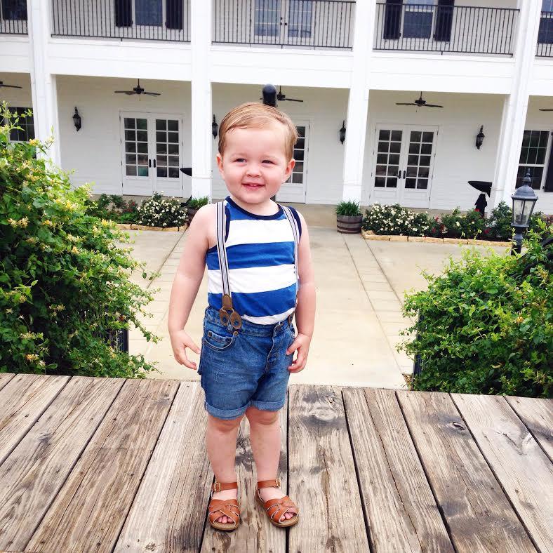 tank:   H&M  , shorts/suspenders:   H&M  , shoes: Salt Waters via Nordstrom