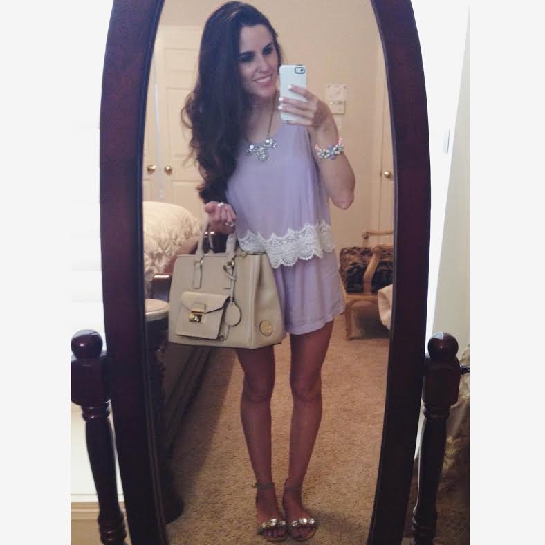 lace trim romper: boutique in Mississippi (I've been searching and searching for something similar without much luck, but I do love   this   one), shoes: Marshall's, bag: Christian LaCroix via Marshall's, necklace:   Logs 'n Lace  , bracelet:   Charming Charlie