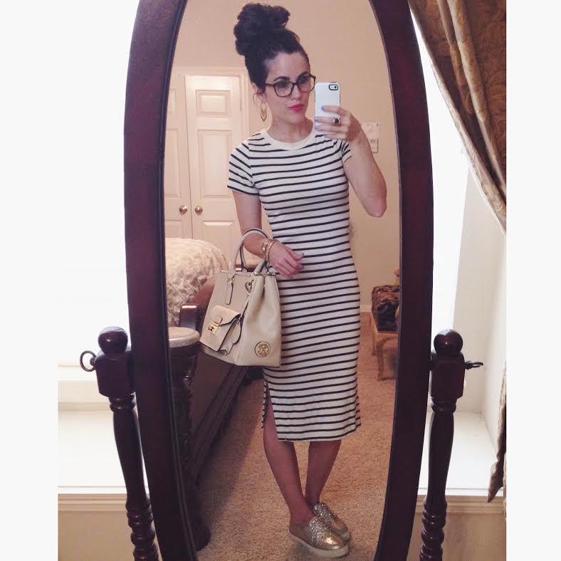 dress: TJ Maxx (similar   here  ), shoes:  Steve Madden via Macy's (no longer available) , purse: Christian LaCroix via Marshall's, earrings: Forever 21, glasses: Versace