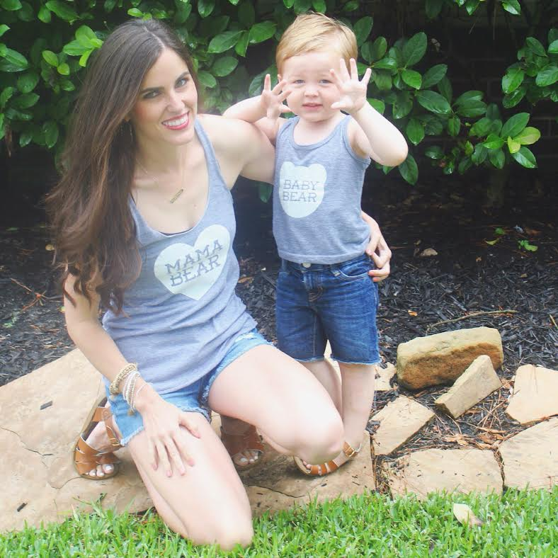 mama bear & baby bear tanks:   Mason Wares  , my shorts:  Forever 21 (old) , Bear's shorts:   Baby Gap  , both of our sandals: Salt Waters via Nordstrom