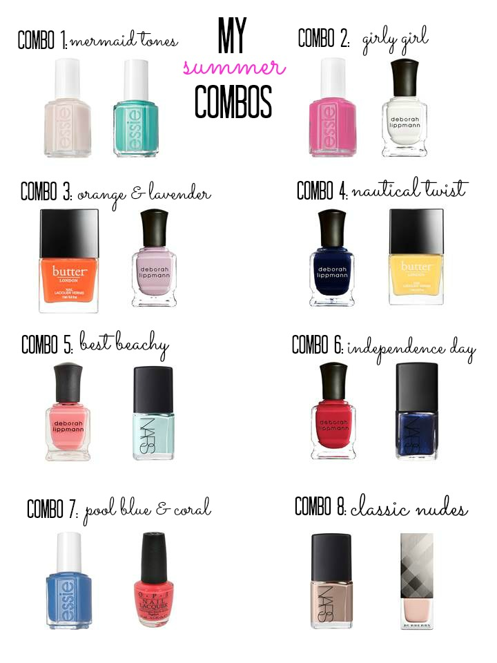 combo 1:   dusty pink   &   teal  // combo 2:   pink   &   white  // combo 3:   orange   &   lavender  // combo 4:   navy   &   yellow  // combo 5:   coral   &   aqua  // combo 6:   red   &   glitter navy  // combo 7:   blue   &   coral  // combo 8:   nude   &   light pink