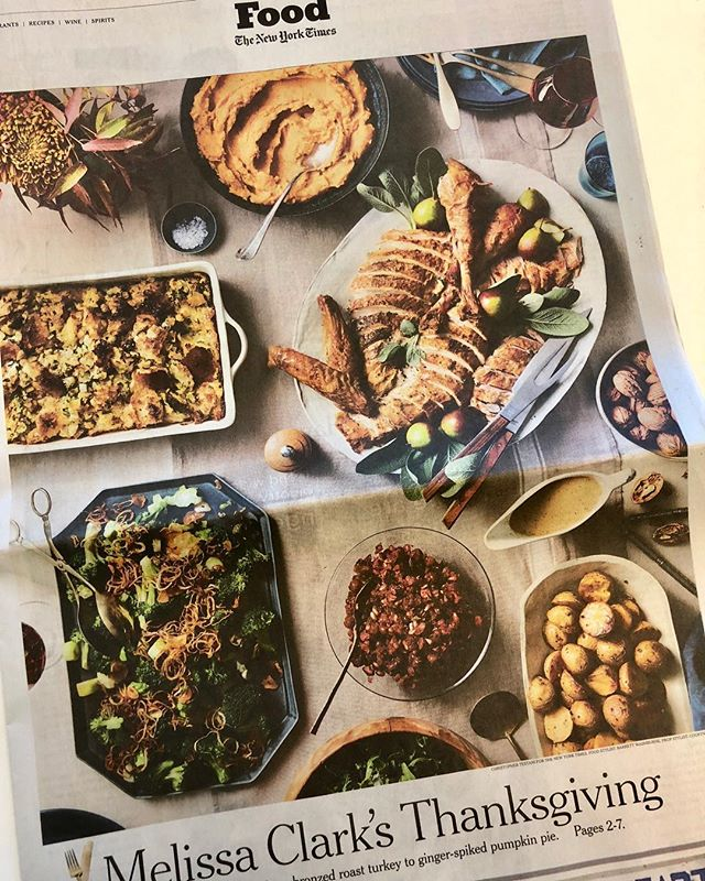 New work alert. Good Morning @nytimes!  And Happy Early Thanksgiving! I am thankful for this perfect holiday menu created by @clarkbar and for @christophertestani 's fabulous photography skills and for @bwashbu 's dedication to 400 pumpkin pies. AND for @kgoug and the entire @nytimes and @nytcooking awesome creative team. I love props. This menu is seriously delicious. Make it!! #thanksgiving #nytimes #pumpkinpie
