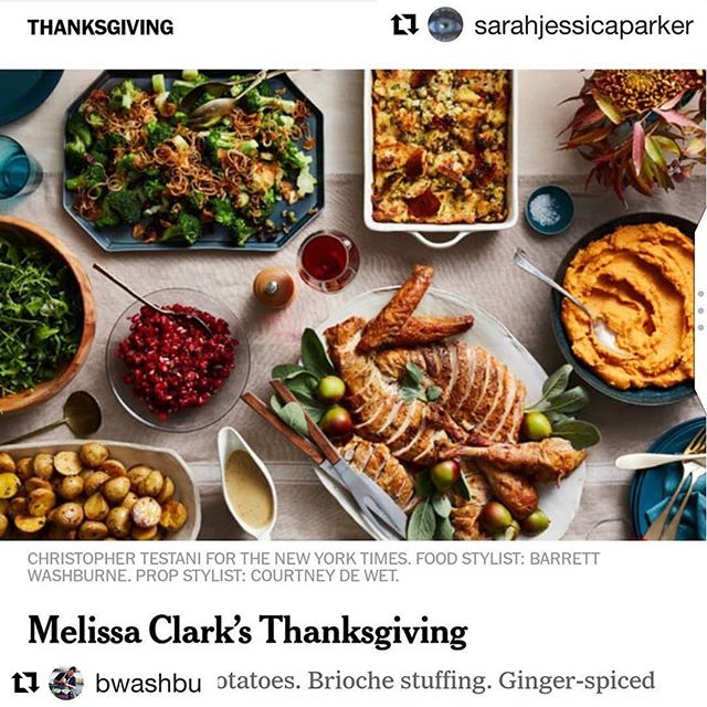 If SJP posts something you worked on, you have to repost it-right? Happy Thanksgiving! #Repost @bwashbu with @get_repost ・・・ Well that's pretty cool 😎 😊 @christophertestani @courtneydewet #Repost @sarahjessicaparker ・・・ Shopped,  prepped and all hands on deck @clarkbar  Thanks as always for providing guidance and inspiration. Hope to make you proud. X, SJ