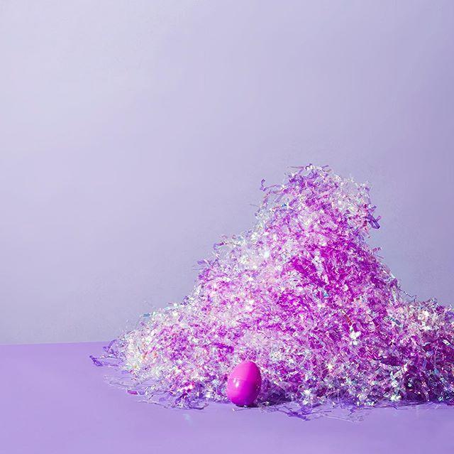 Happy Artsy Fartsy Easter! 🥚📸 @sarahanneward I am the fake grass tamer and plastic egg connoisseur. #newwork #purple #pink #green #eastergrass #plasticeggs #easter #happyeaster #nest #egg #putaneggonit #artsyfartsy