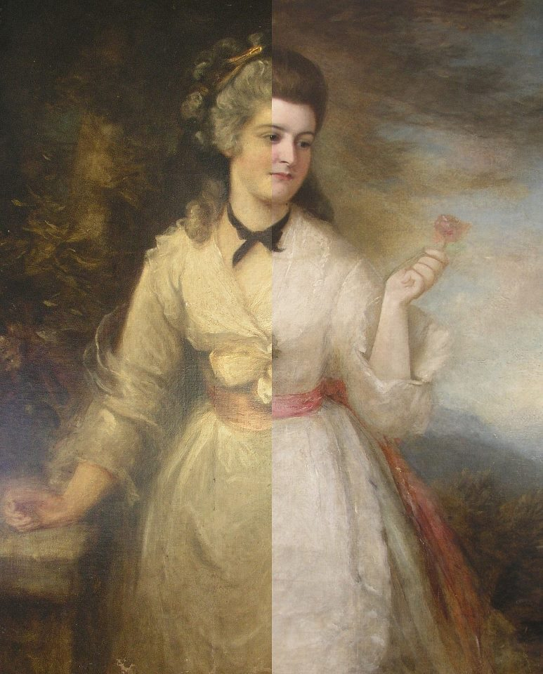 Digital overlay of before and after treatment images.    The originally younger woman was made to look much older through a series of older restorations. The dress, hair, and hands were drastically changed with heavy overpaint, concealing the artist's intent. Removal of this overpaint and other treatment methods were used to bring the original back to life.