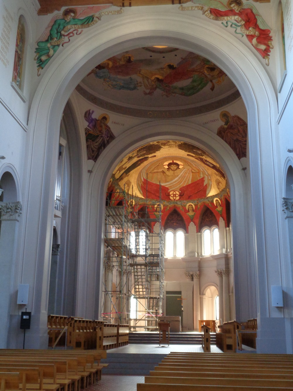 View of scaffolding in St. Joseph Abbey apse, Covington, LA.