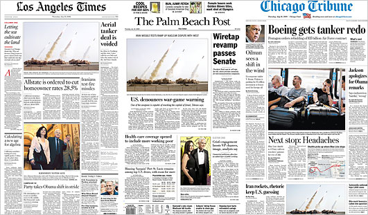 As published on the front pages of the  Los Angeles Times ,  The Palm Beach Post  and the  Chicago Tribune