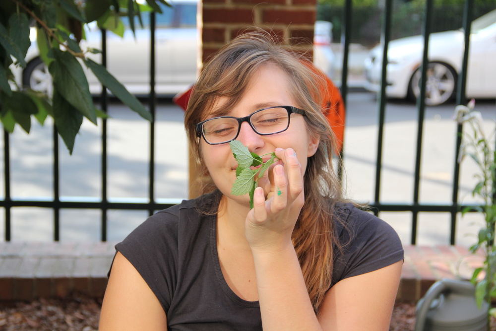 Mia enjoying some of the herbs from the garden. (Photo by Hannah Cather)