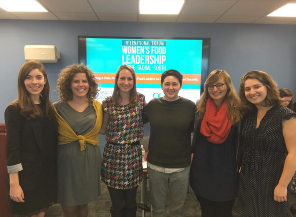 (From left) Maddie, HC, Karen, Cam, Mia, and Hannah attend the International Forum for Women's Food Leadership in the Global South at GWU in late October.