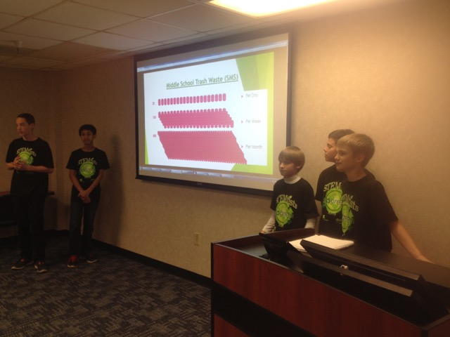 Middle schoolers in Morgantown, West Virginia, give a presentation on waste as part of FRN at West Virginia University's National Hunger and Homelessness Awareness Week event series.