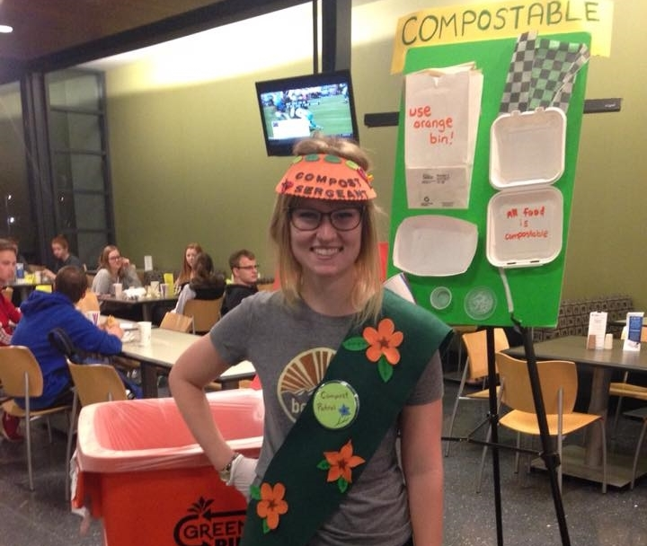 Laura Leben, President of Drake University's FRN chapter, dresses up as a Compost Sergeant to encourage composting on Drake's campus.