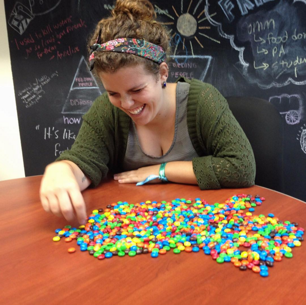 FRN Member Support Fellow hc counts M&Ms to help celebrate reaching one million pounds of food recovered.