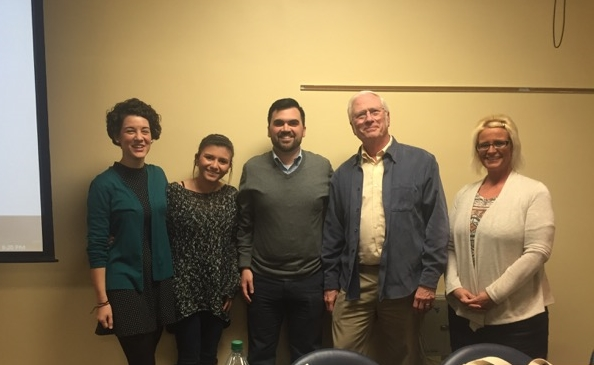 Hilary, one of the leaders of WVU's chapter, with Monday's panel speakers (from left: Hilary Kinney, Melissa Hernandez, Zacary Tardiff, John Sonneday, and Kandi Shafer.
