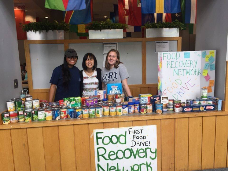 E-board members Erika Opena, Jaime Renman, and Robin Norko volunteering at the chapter's 2016 food drive, where the chapter rounded up 98 pounds of food. This year, they surpassed their goal of 100 pounds by collecting 205 pounds!