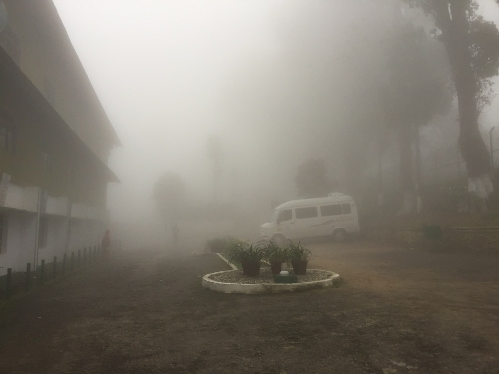 Our poor little bus, nearly lost in the mist at Castleton Tea Estate.