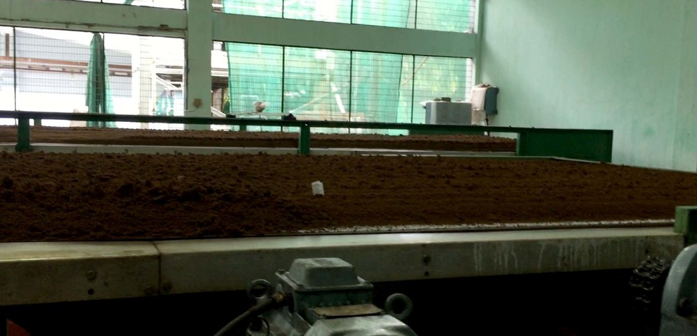 Oxidation: The tea travels along a conveyor belt in the open air. As the oxygen reacts with the tea, the tea turns from green to brown.