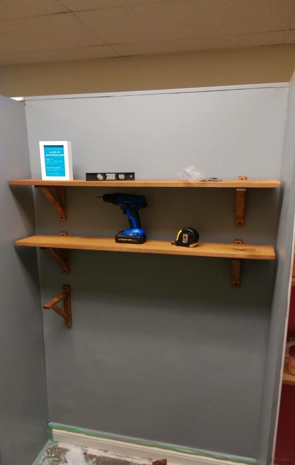Shelves going up.