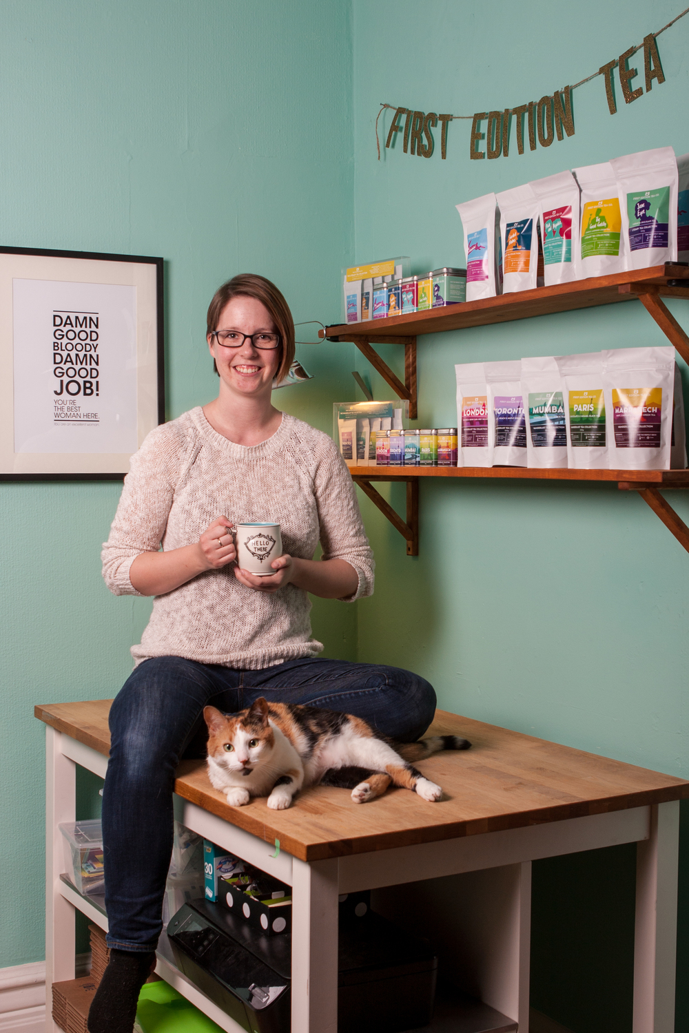 Stephanie Sandercock, Owner and TAC Certified Tea Sommelier (with special guest Butters the Calico cat)
