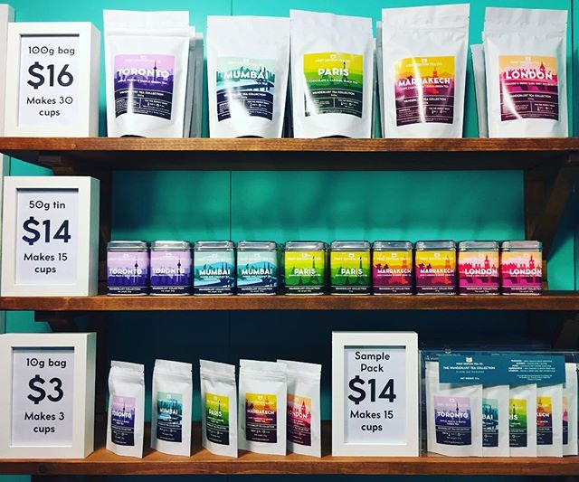 A happy rainbow of travel themed tea blends! The One of a Kind Show is open for business for day 2. Come visit us in booth C47 until 11pm tonight! #ooaks17 #ooakdiaries #tea