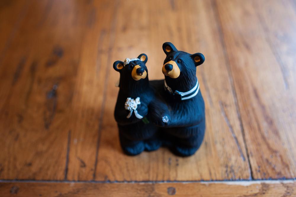 wedding black bear cake topper