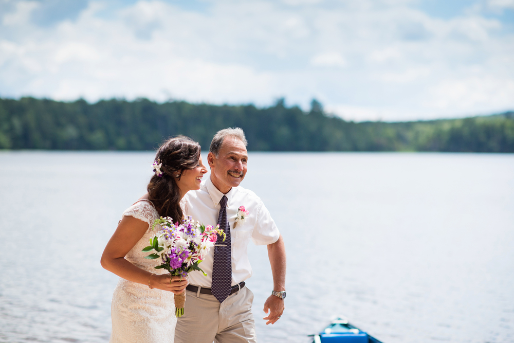daughter and father adirondack wedding
