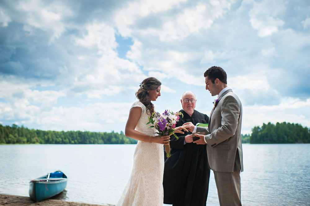 groom exchange of rings adirondack wedding brown tract pond