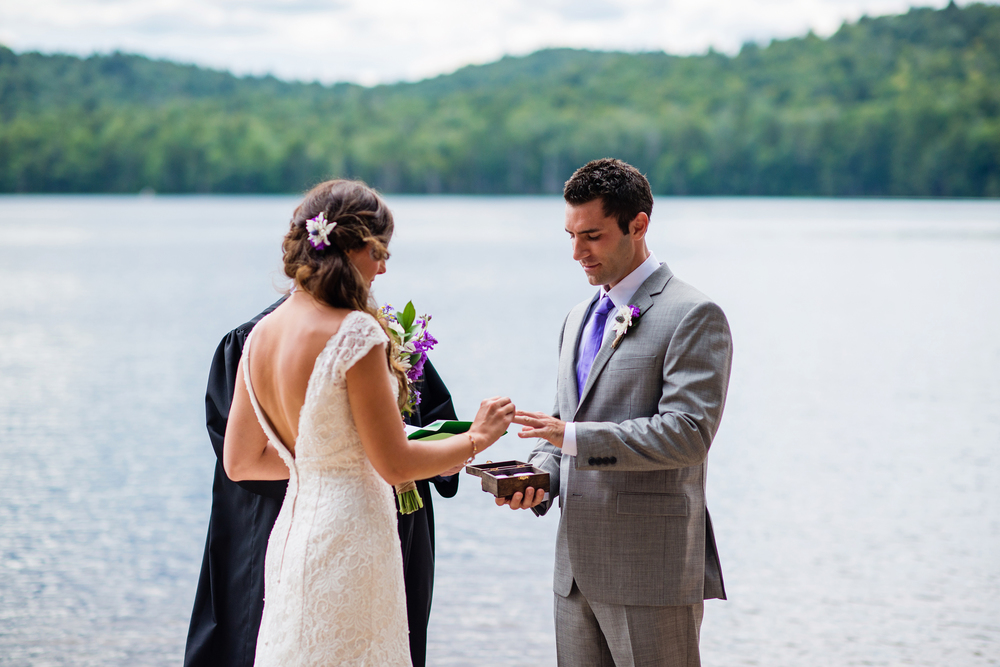 bride exchange of rings adirondack wedding brown tract pond