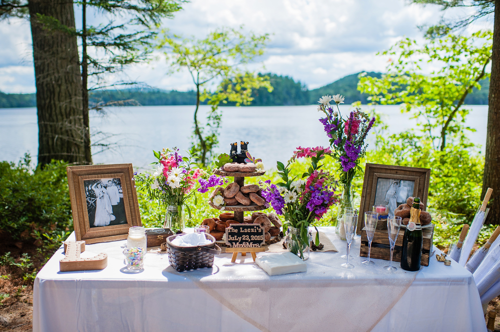Adirondack Wedding Brown Tract Pond Doughnuts and Champagne