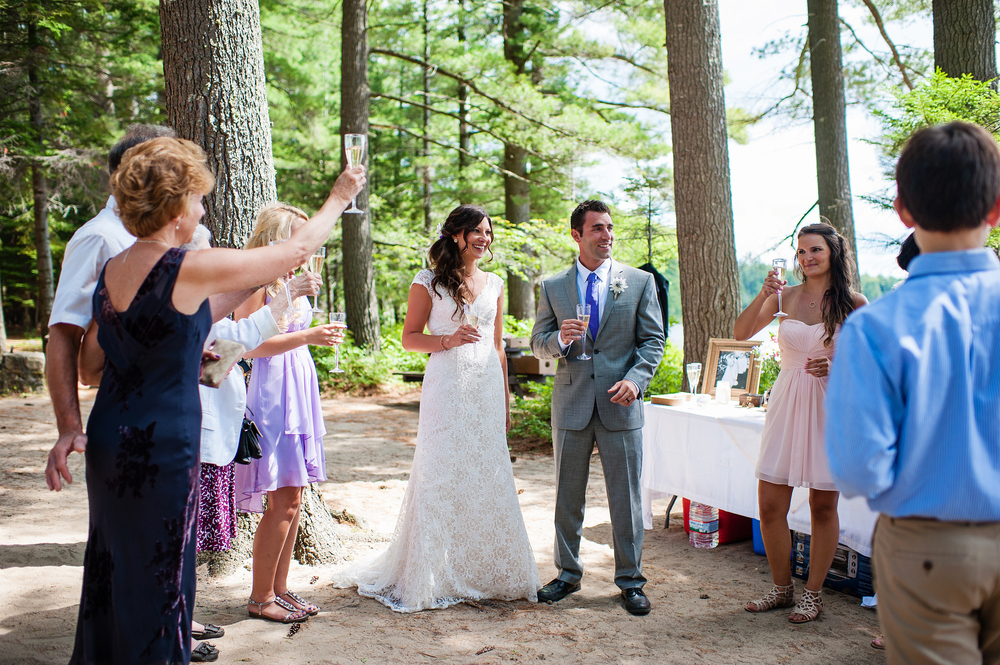 Adirondack Wedding Champagne Toast
