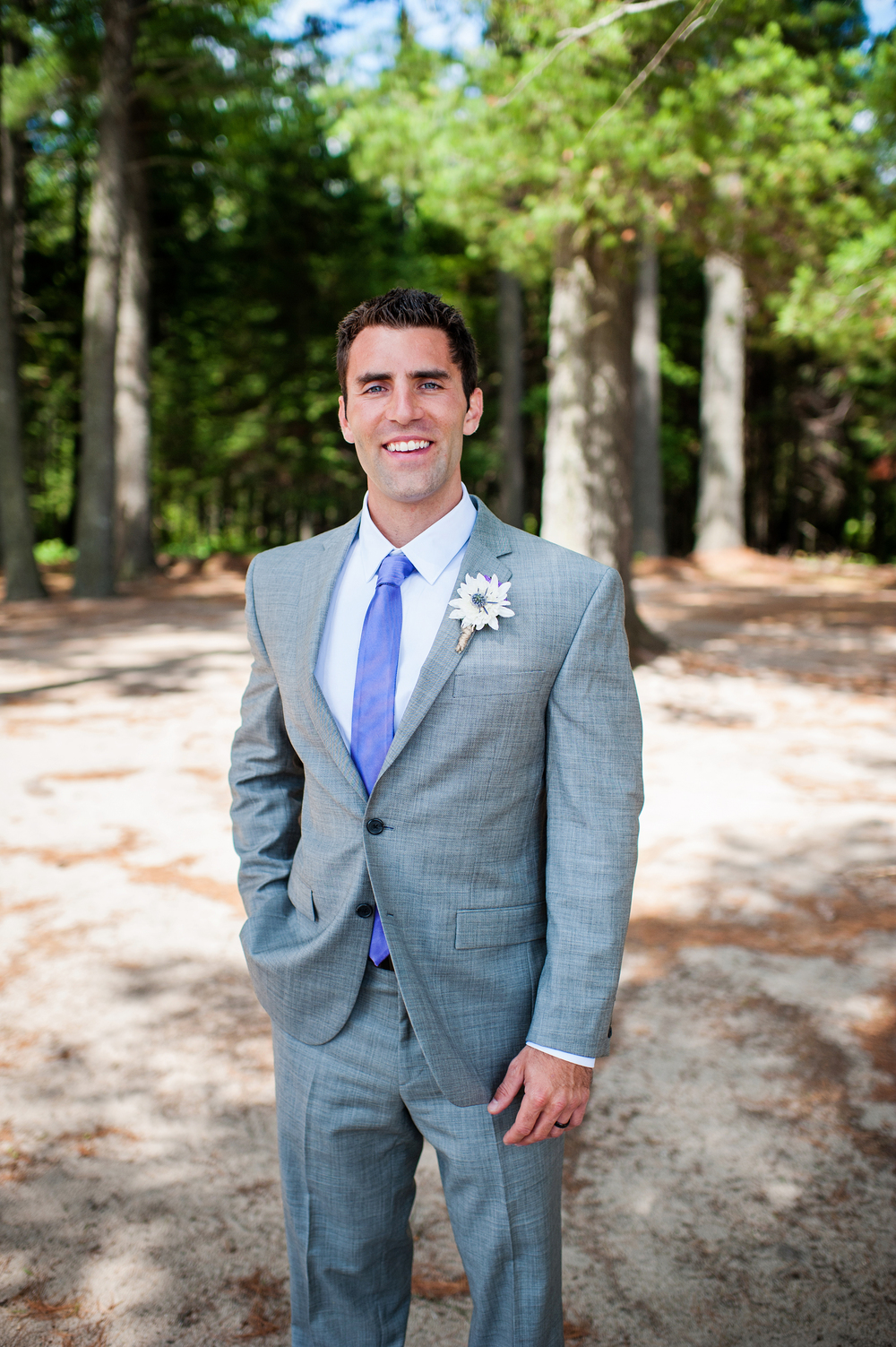 Groom Adirondack Wedding Brown Tract Pond