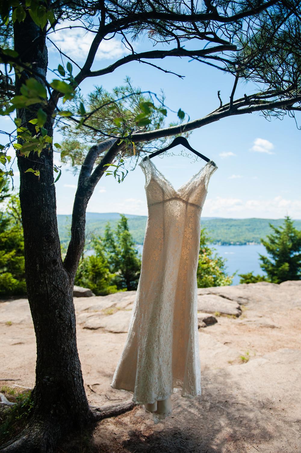 Bride's Dress in Tree Adirondack Wedding