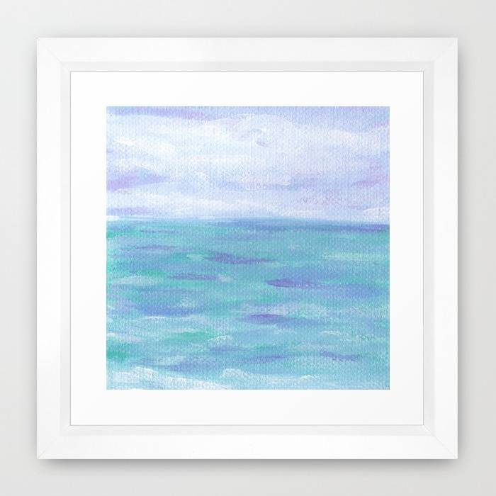 Lilac Skies & Turquoise Seascape Art Print Framed